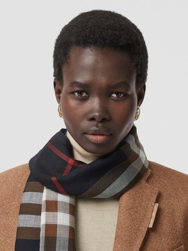 Lightweight Check Wool Silk Scarf in Black / Brown | Burberry United Kingdom - cell image 2