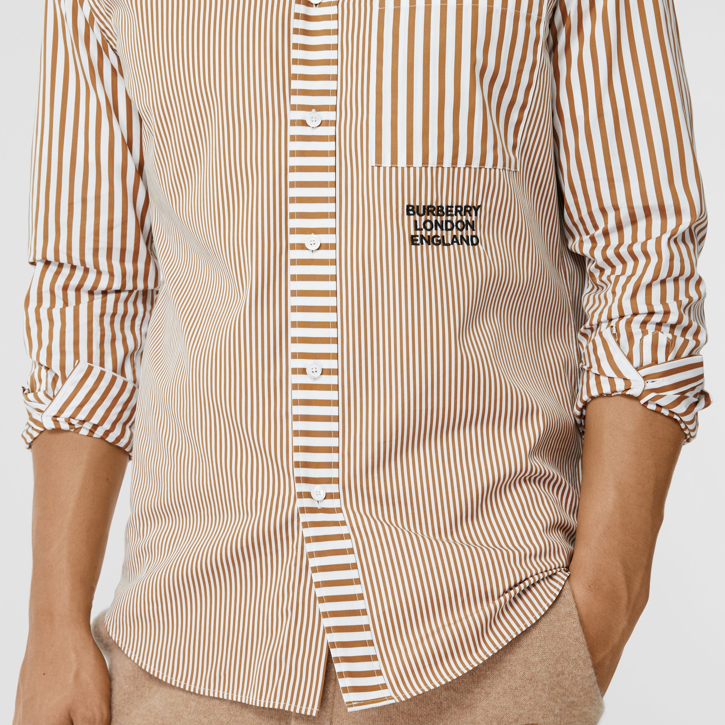 Embroidered Logo Patchwork Striped Cotton Shirt in Camel - Men | Burberry - 2