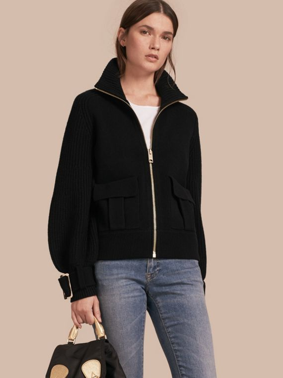 Knitted Wool Cashmere Bomber Jacket with Bell Sleeves