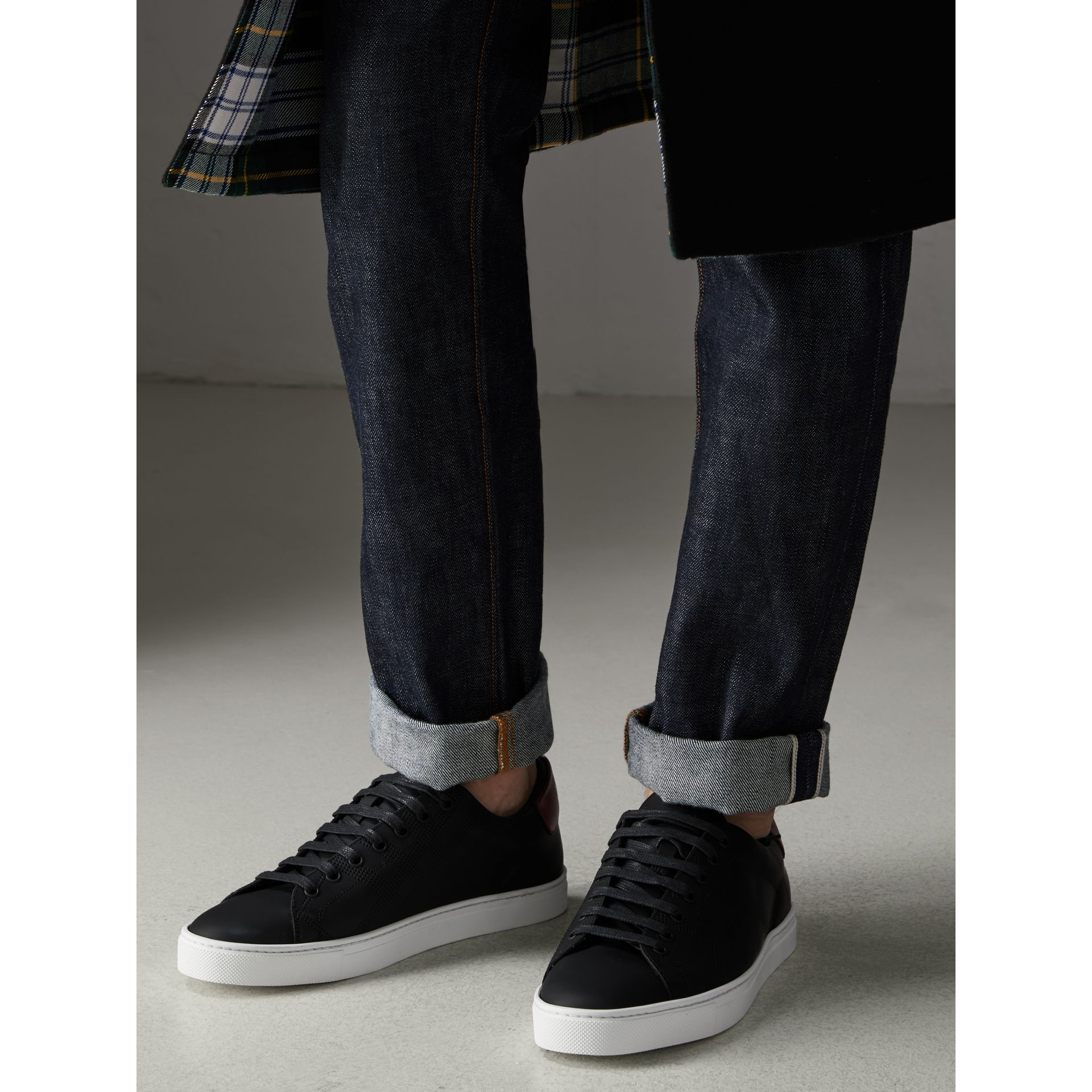 Perforated Check Leather Sneakers in Black - Men | Burberry Singapore - gallery image 2
