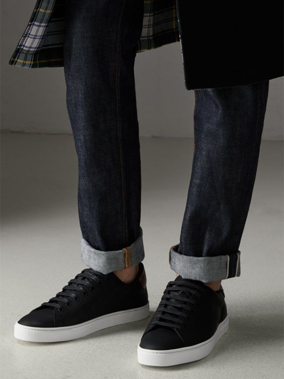 Perforated Check Leather Sneakers in Black - Men | Burberry United Kingdom - cell image 2