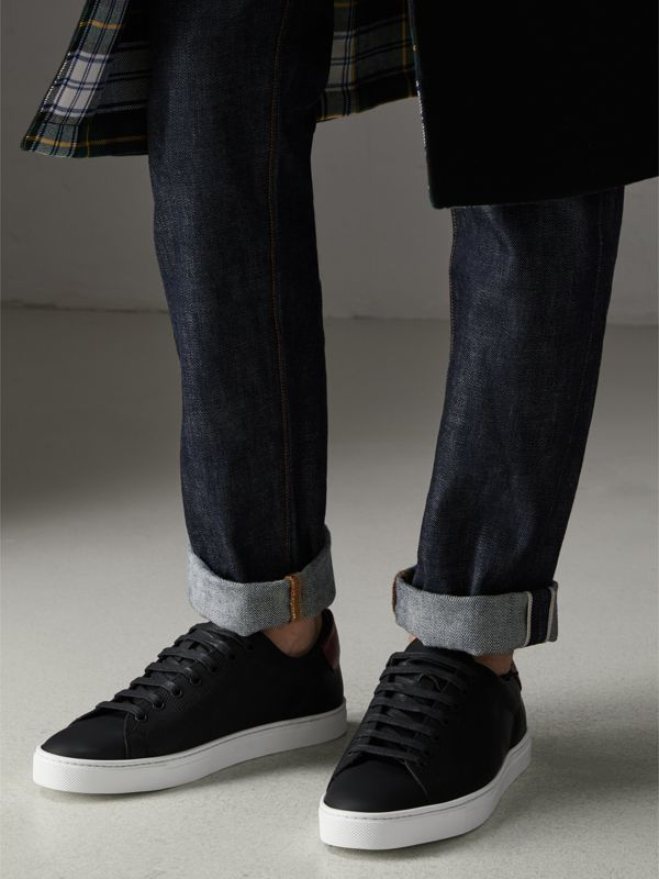 Perforated Check Leather Sneakers in Black - Men | Burberry Singapore - cell image 2