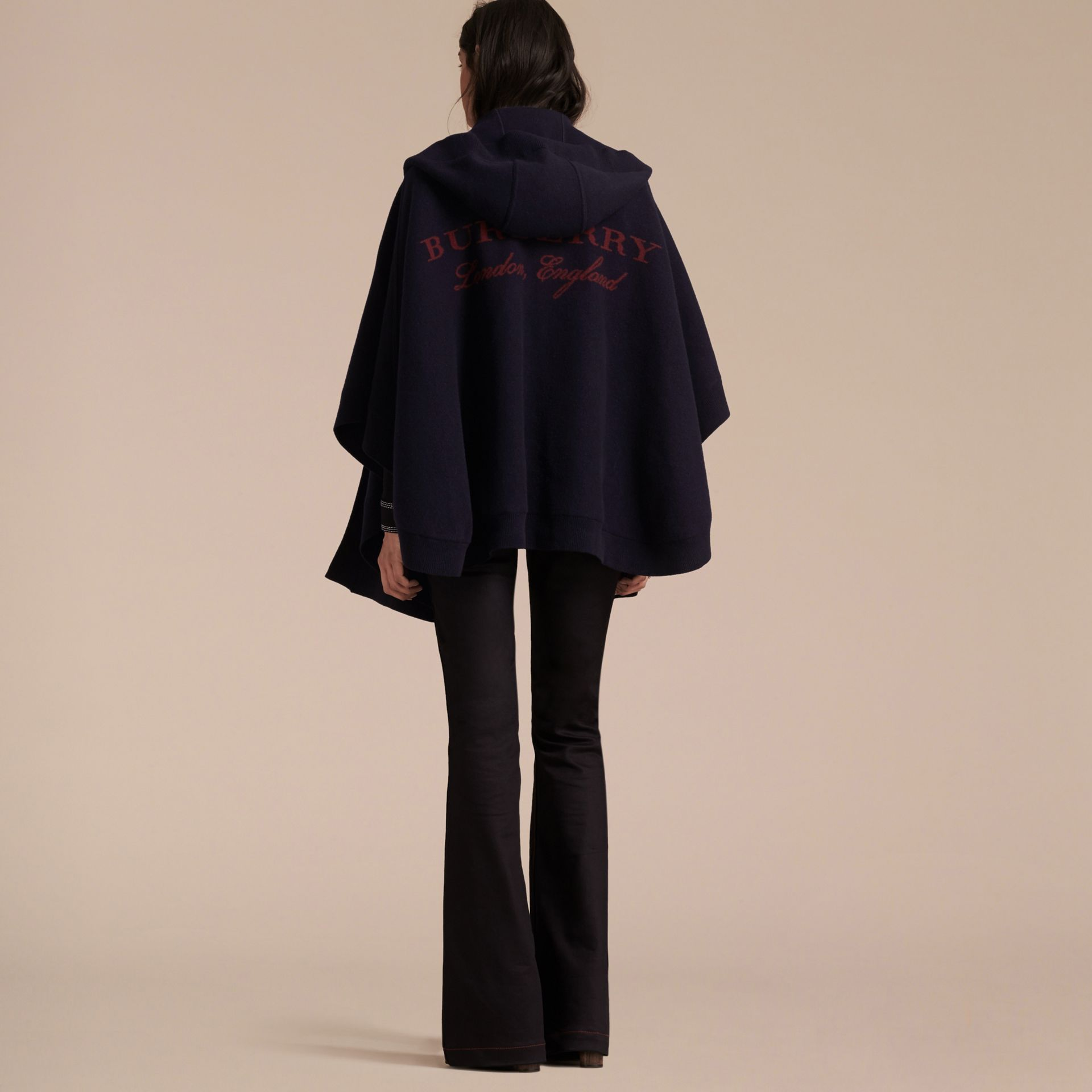 Navy/black Wool Cashmere Blend Hooded Poncho Navy/black - gallery image 6
