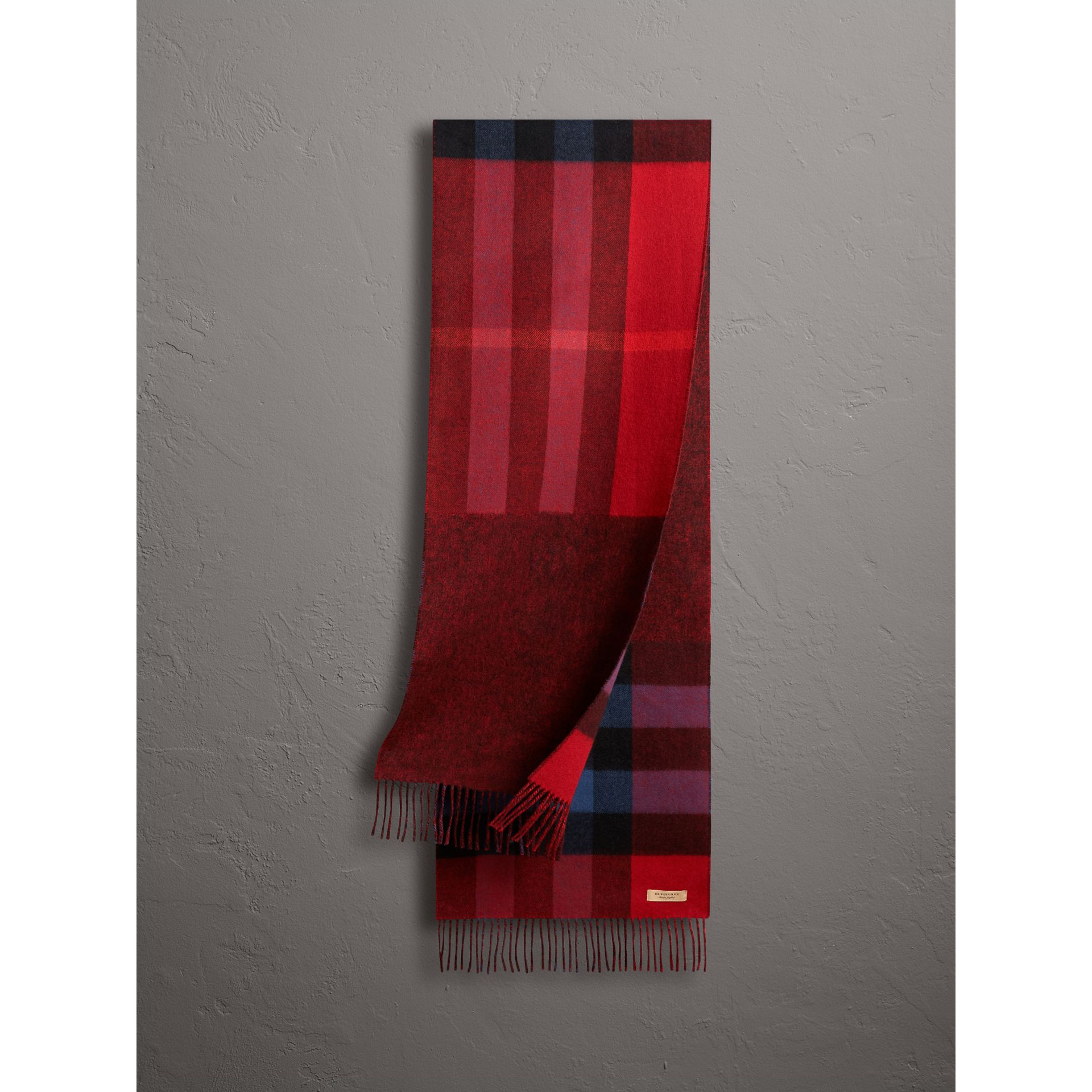 Reversible Check and Melange Cashmere Scarf in Parade Red | Burberry United States - gallery image 0