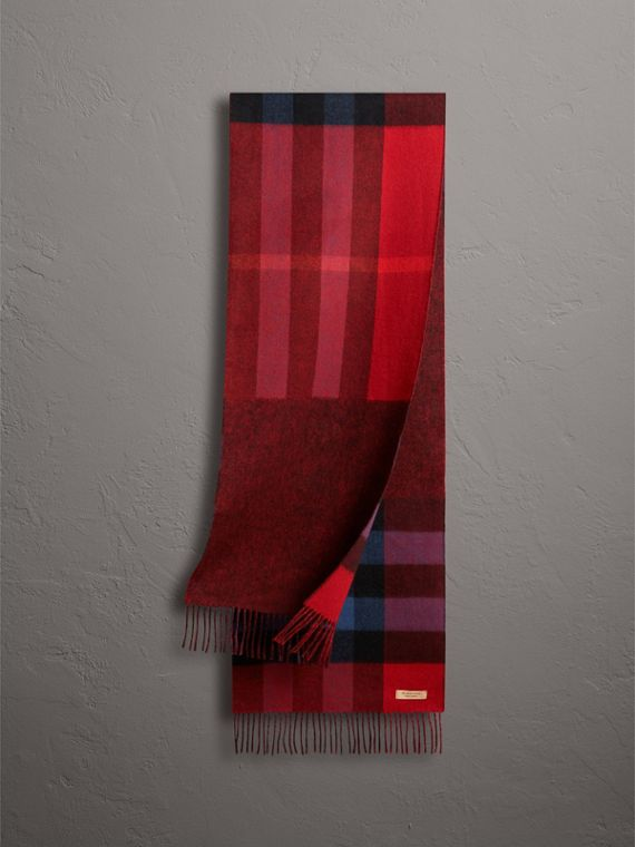Reversible Check and Melange Cashmere Scarf in Parade Red