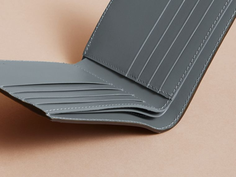 Beasts Print Leather Folding Wallet in Sage Green - Men | Burberry Singapore - cell image 4