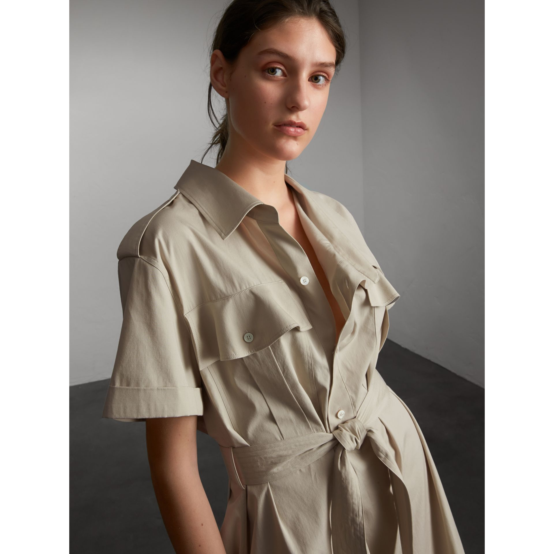 Tie-waist Cotton Shirt Dress in Stone - Women | Burberry Canada - gallery image 6