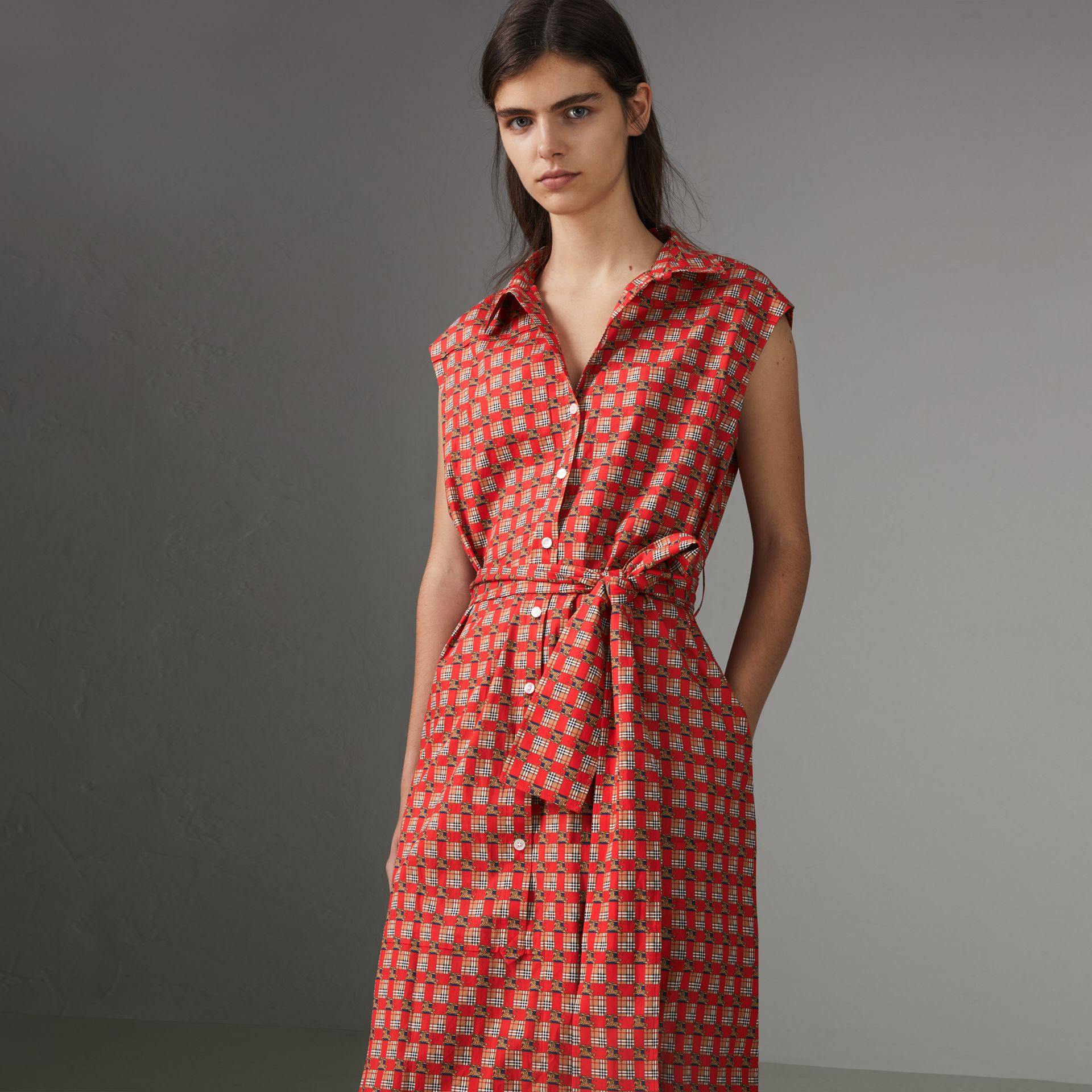 Tiled Archive Print Cotton Shirt Dress in Bright Red - Women | Burberry - gallery image 0