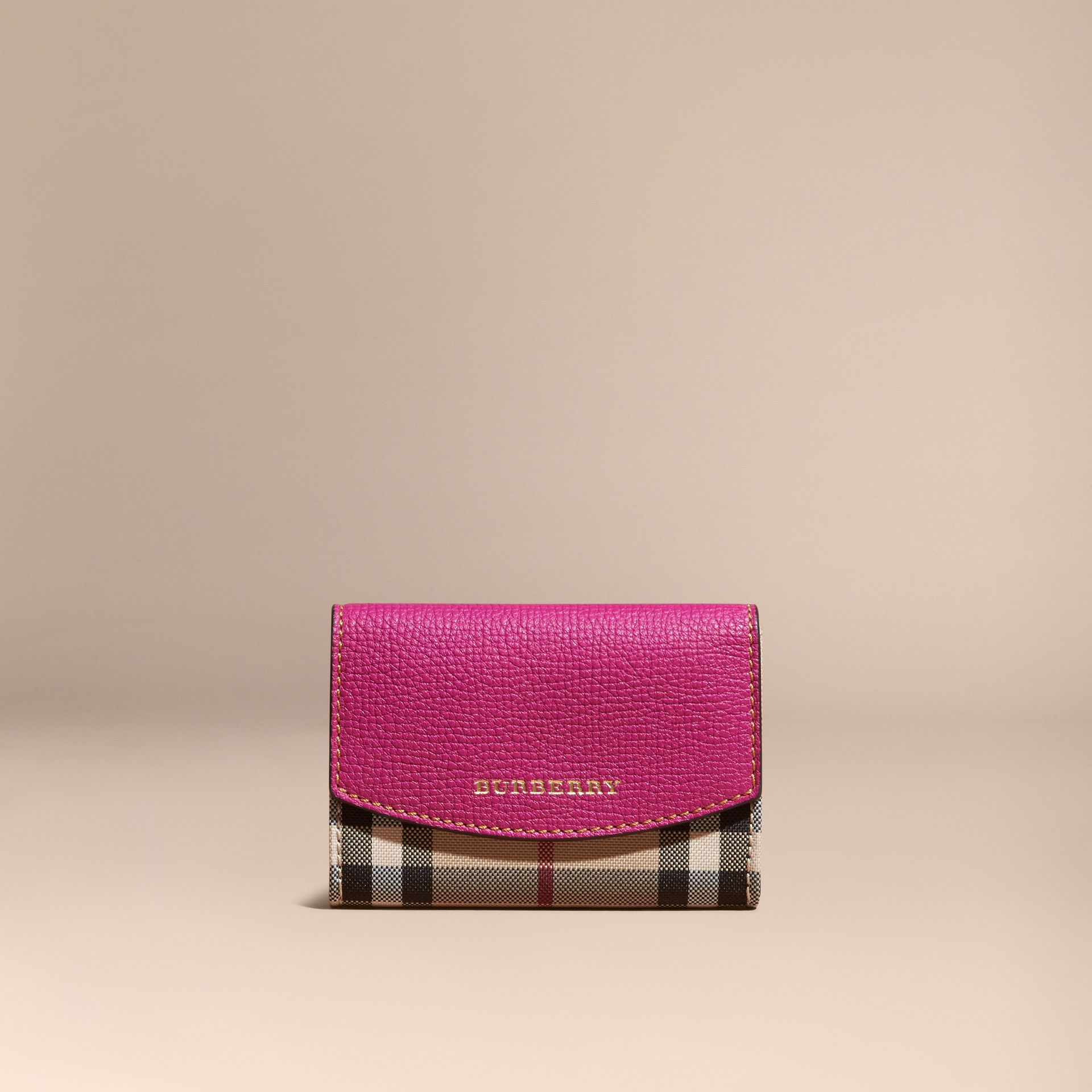 Brilliant fuchsia Horseferry Check and Leather Card Case Brilliant Fuchsia - gallery image 6