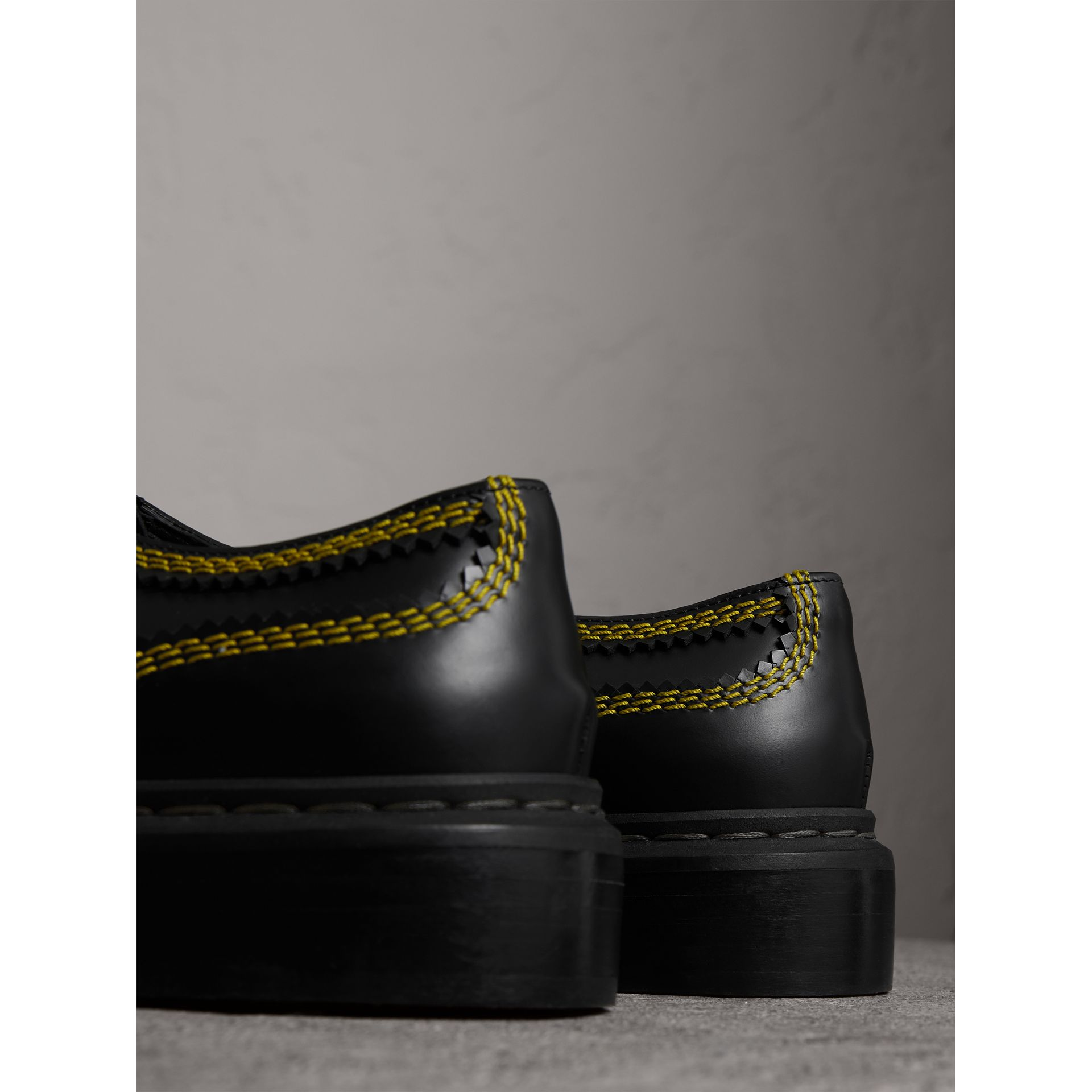 Topstitch Leather Lace-up Shoes in Black - Women | Burberry - gallery image 3