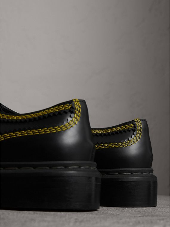 Topstitch Leather Lace-up Shoes in Black - Women | Burberry United Kingdom - cell image 3