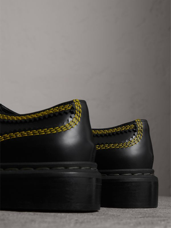Topstitch Leather Lace-up Shoes in Black - Women | Burberry - cell image 3