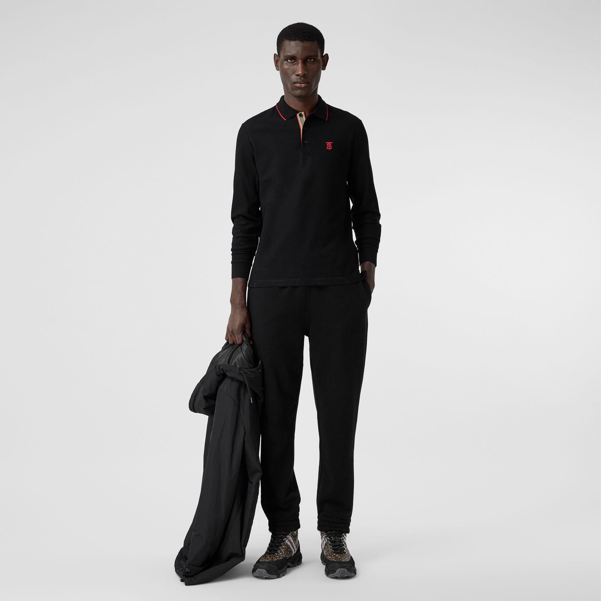 Long-sleeve Monogram Motif Cotton Piqué Polo Shirt in Black - Men | Burberry - gallery image 4