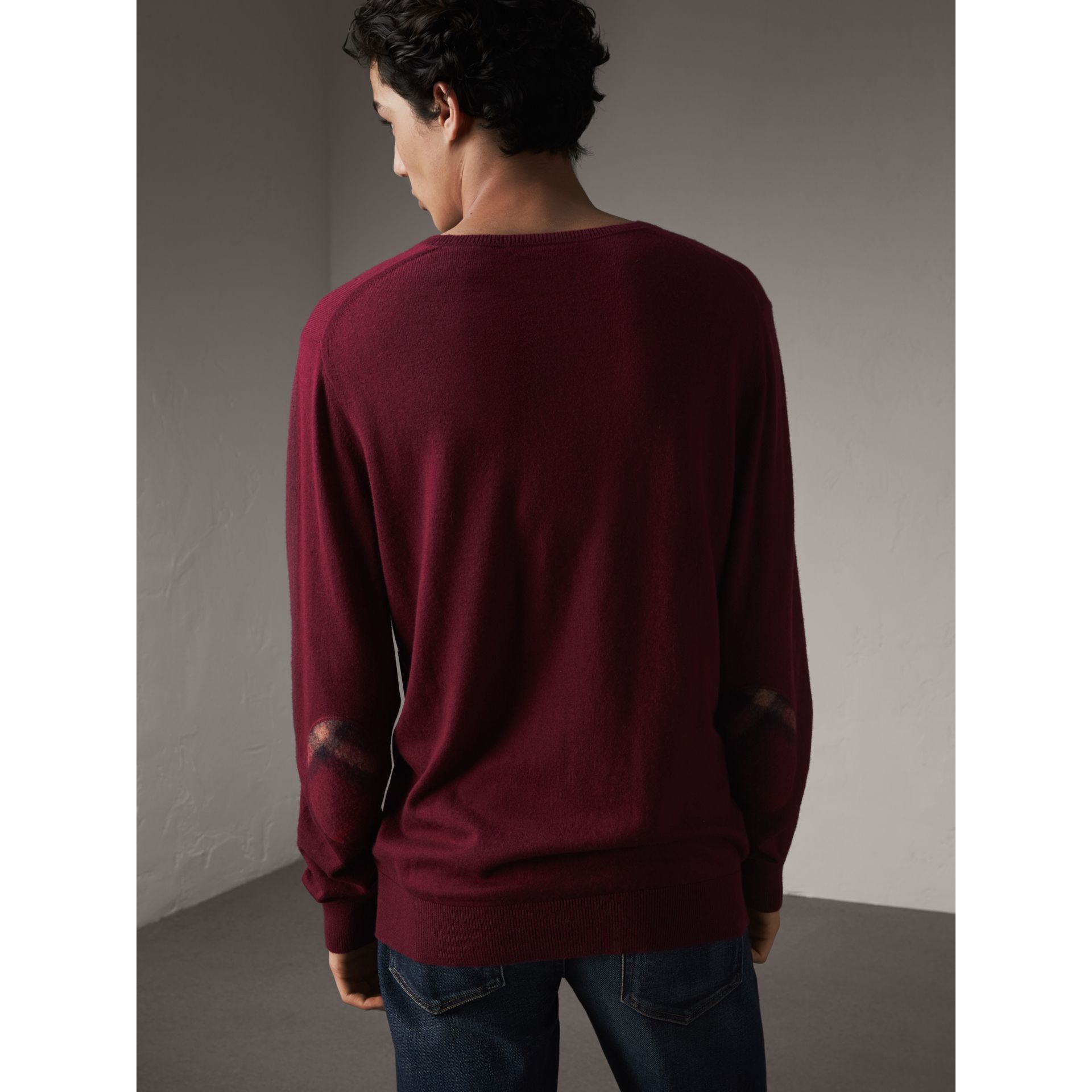 Check Trim Cashmere Cotton Sweater in Claret - Men | Burberry - gallery image 3