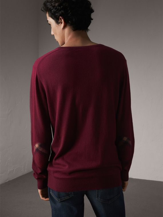 Check Trim Cashmere Cotton Sweater in Claret - Men | Burberry - cell image 2