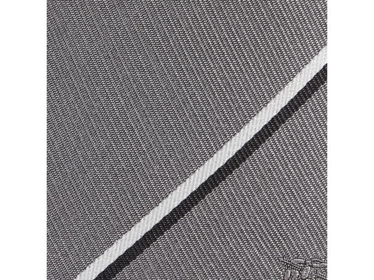Modern Cut Striped Silk Tie in Charcoal - Men | Burberry United States - cell image 1