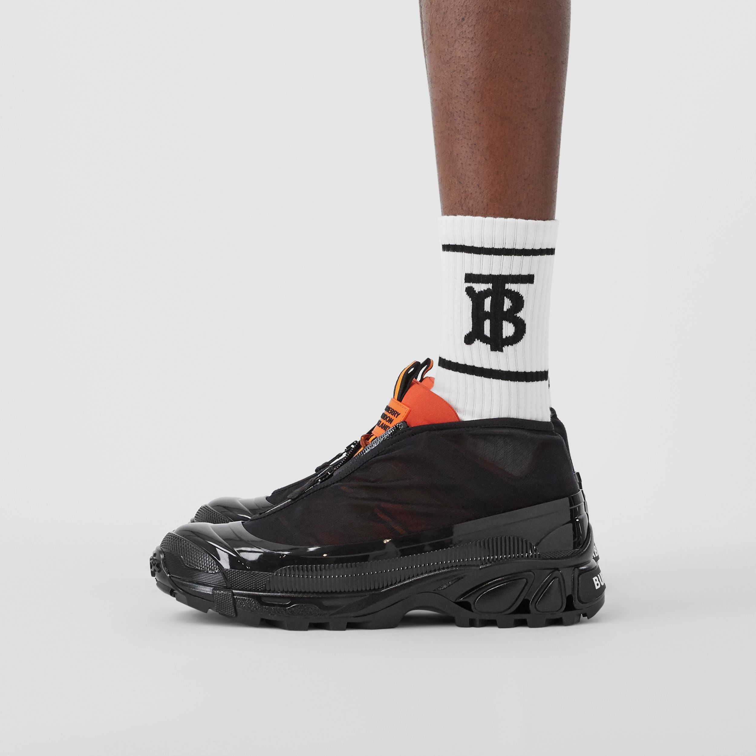 Nylon and Suede Arthur Sneakers in Black/bright Orange | Burberry - 3