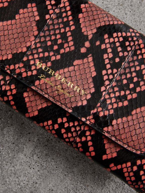 Python and Leather Continental Wallet in Peony - Women | Burberry United States - cell image 1