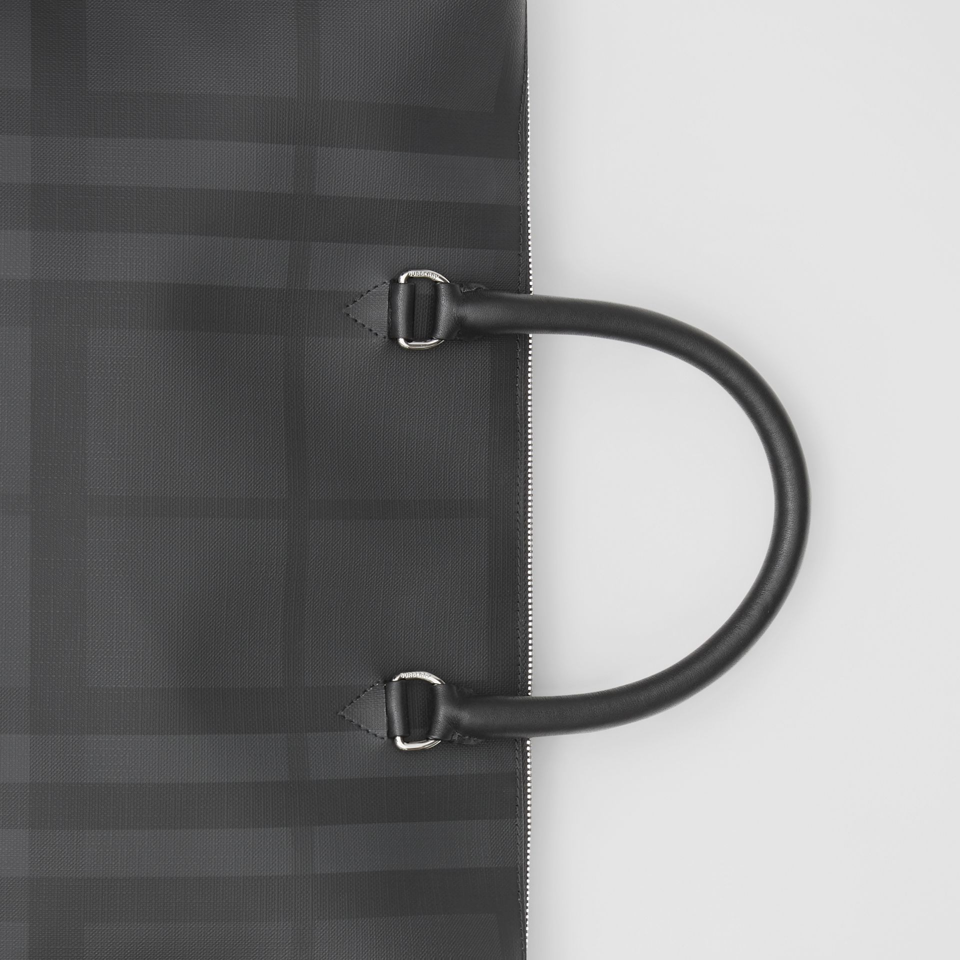Large London Check and Leather Briefcase in Dark Charcoal - Men | Burberry - gallery image 1