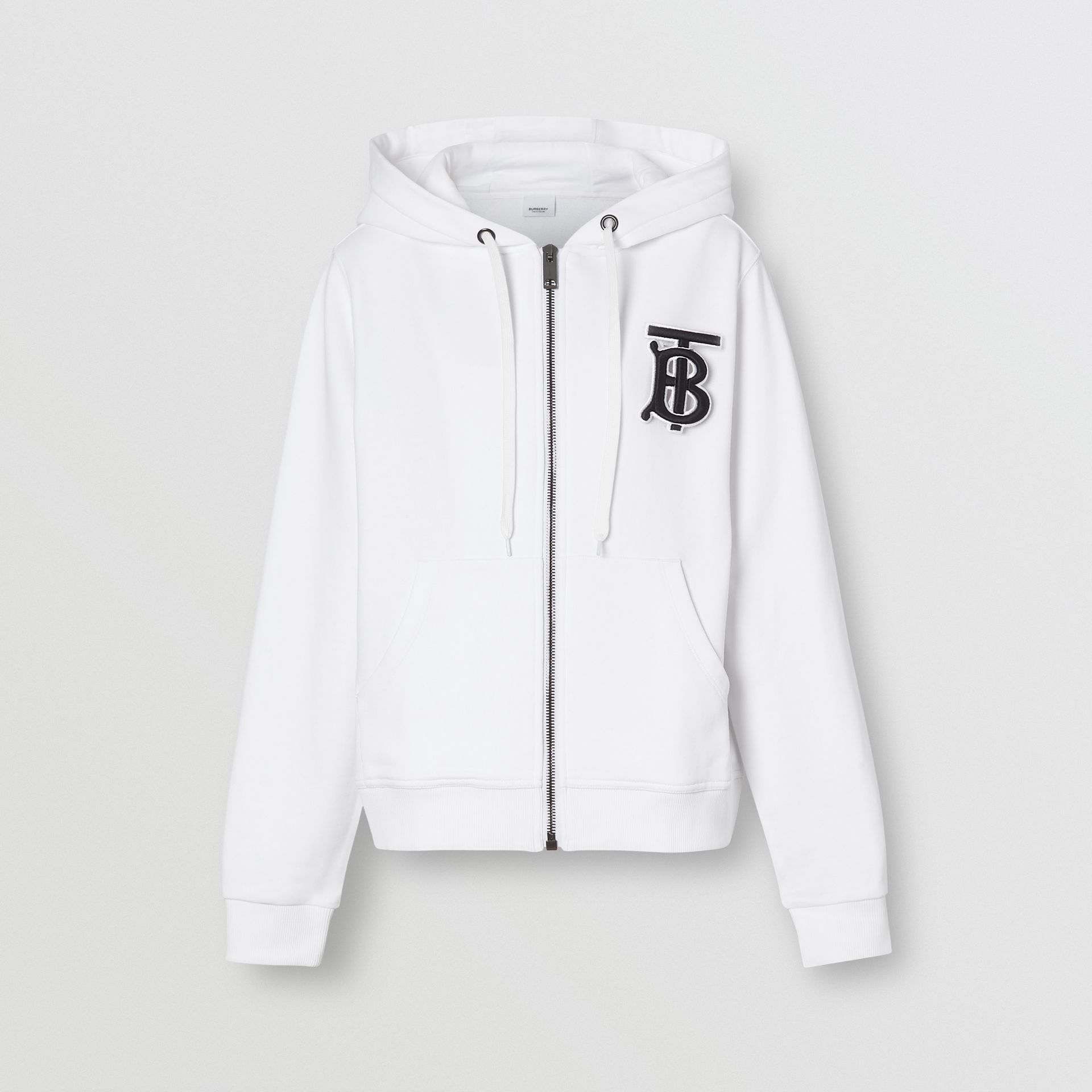 Monogram Motif Cotton Oversized Hooded Top in White - Women | Burberry - gallery image 3