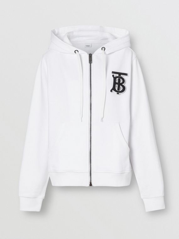 Monogram Motif Cotton Oversized Hooded Top in White