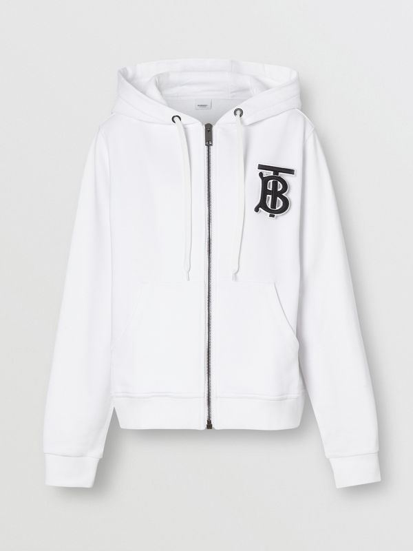 Monogram Motif Cotton Oversized Hooded Top in White - Women | Burberry - cell image 3