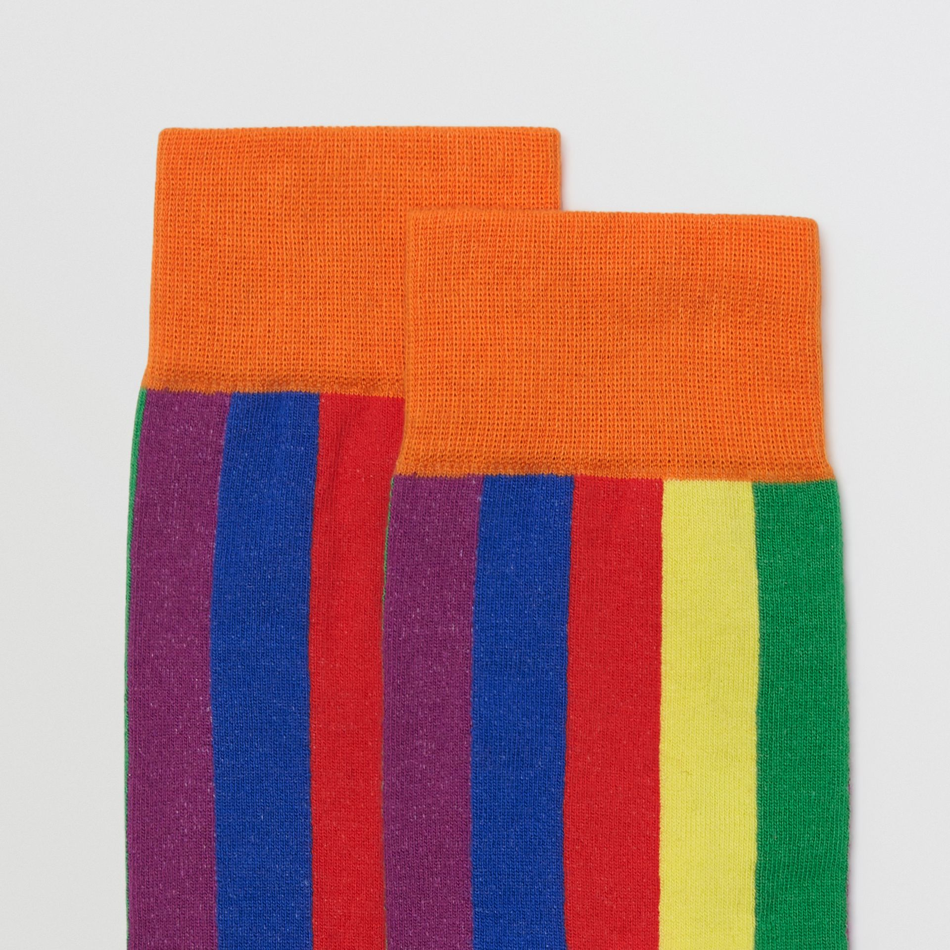 Striped Intarsia Cotton Blend Socks in Rainbow | Burberry Australia - gallery image 1