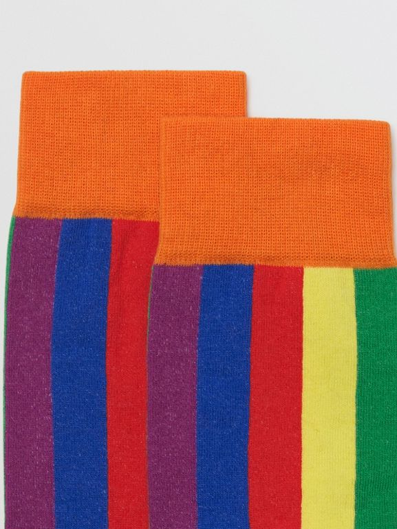 Striped Intarsia Cotton Blend Socks in Rainbow | Burberry United Kingdom - cell image 1