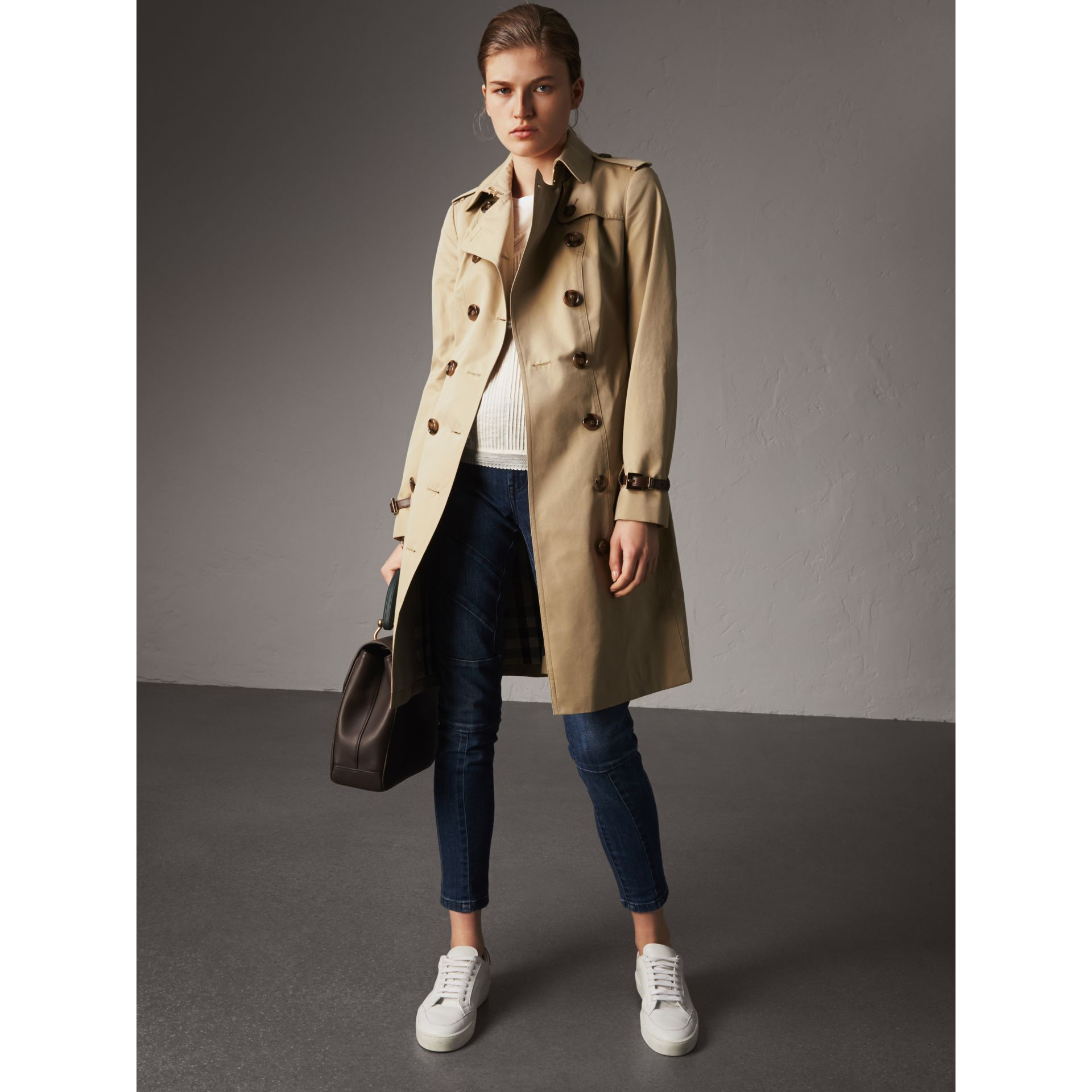 Leather Trim Cotton Gabardine Trench Coat in Honey - Women | Burberry - gallery image 0