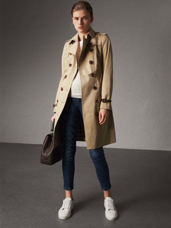 Leather Trim Cotton Gabardine Trench Coat in Honey