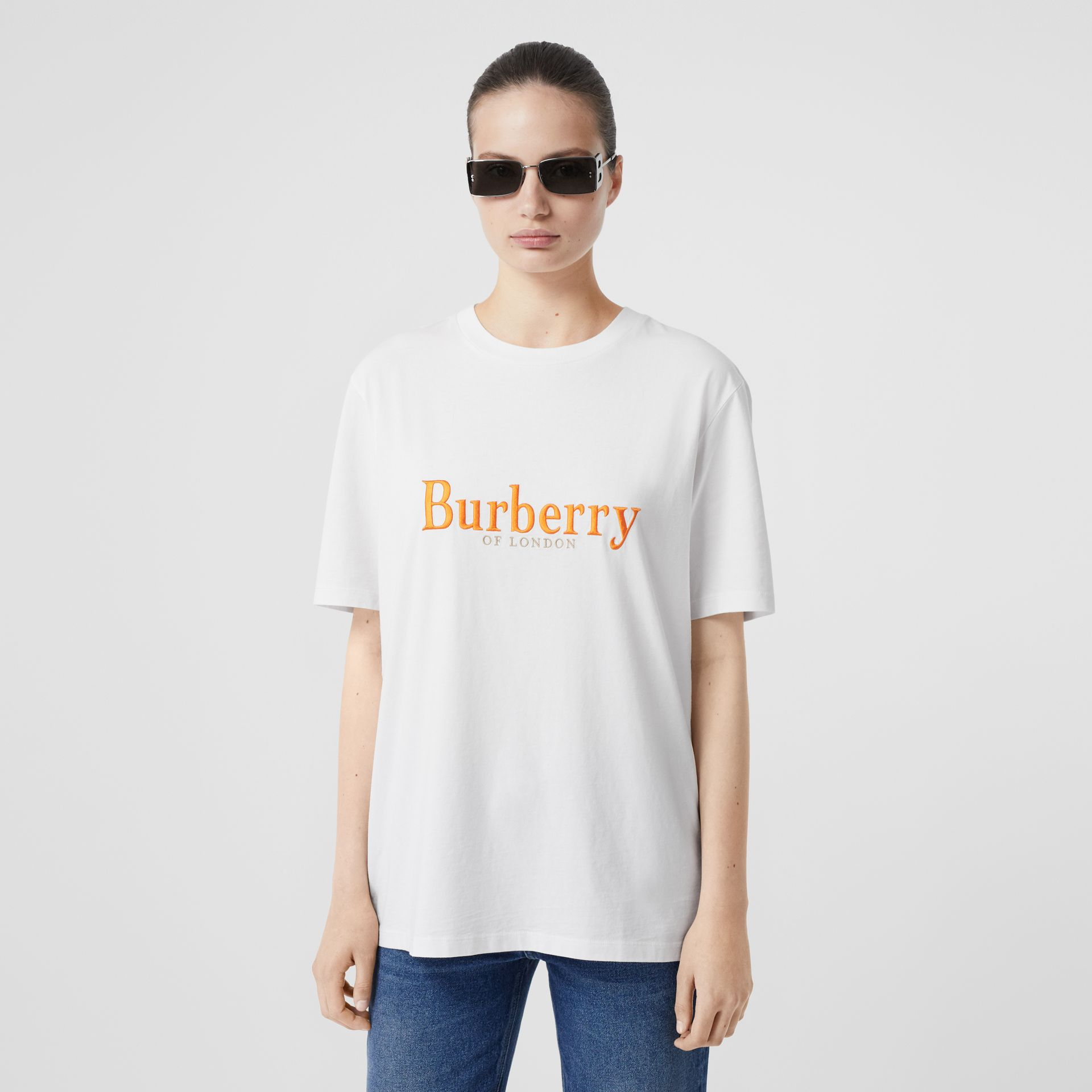 Embroidered Archive Logo Cotton T-shirt in White - Women | Burberry Hong Kong S.A.R - gallery image 4