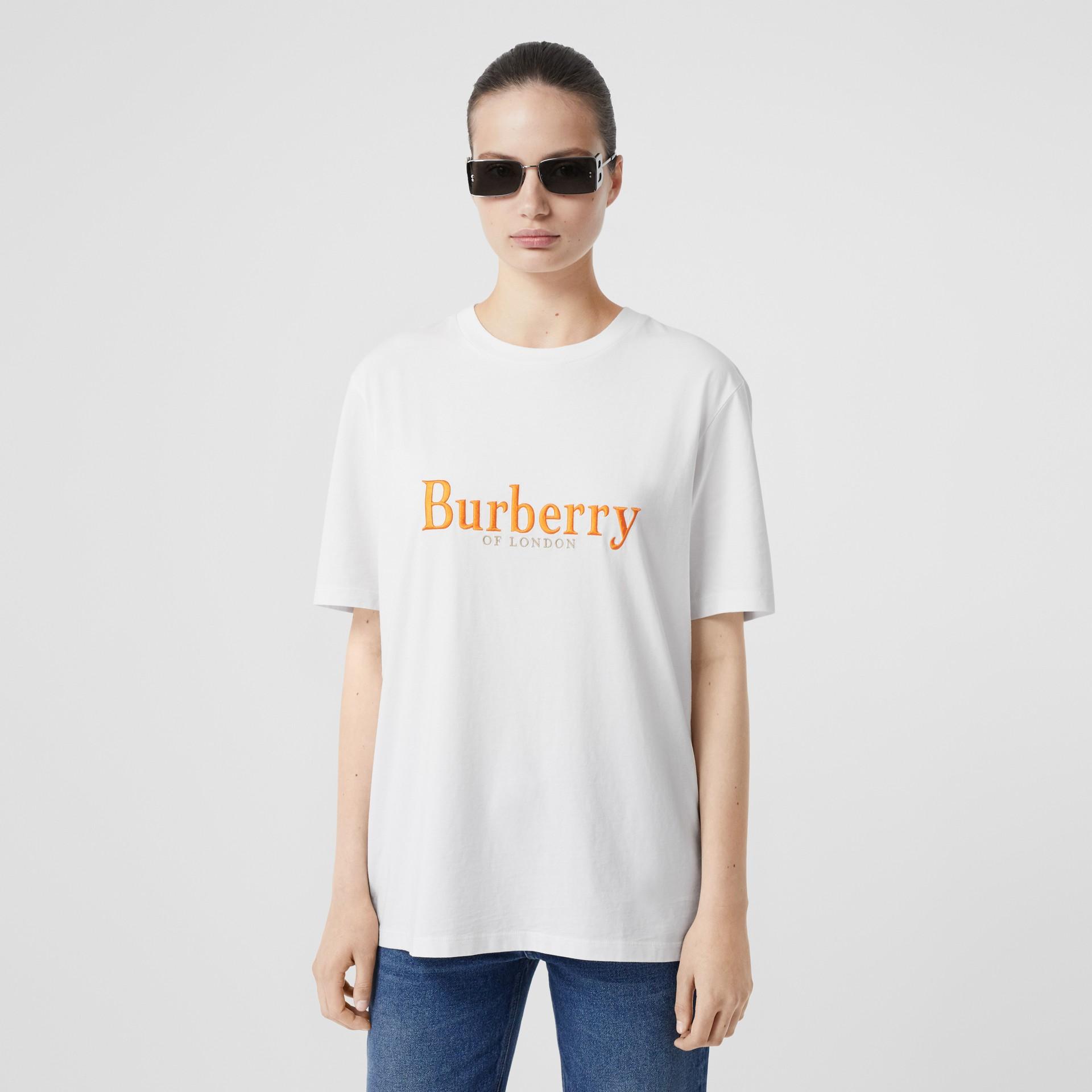 T-shirt en coton avec logo d'archive brodé (Blanc/rouge) - Femme | Burberry Canada - photo de la galerie 4