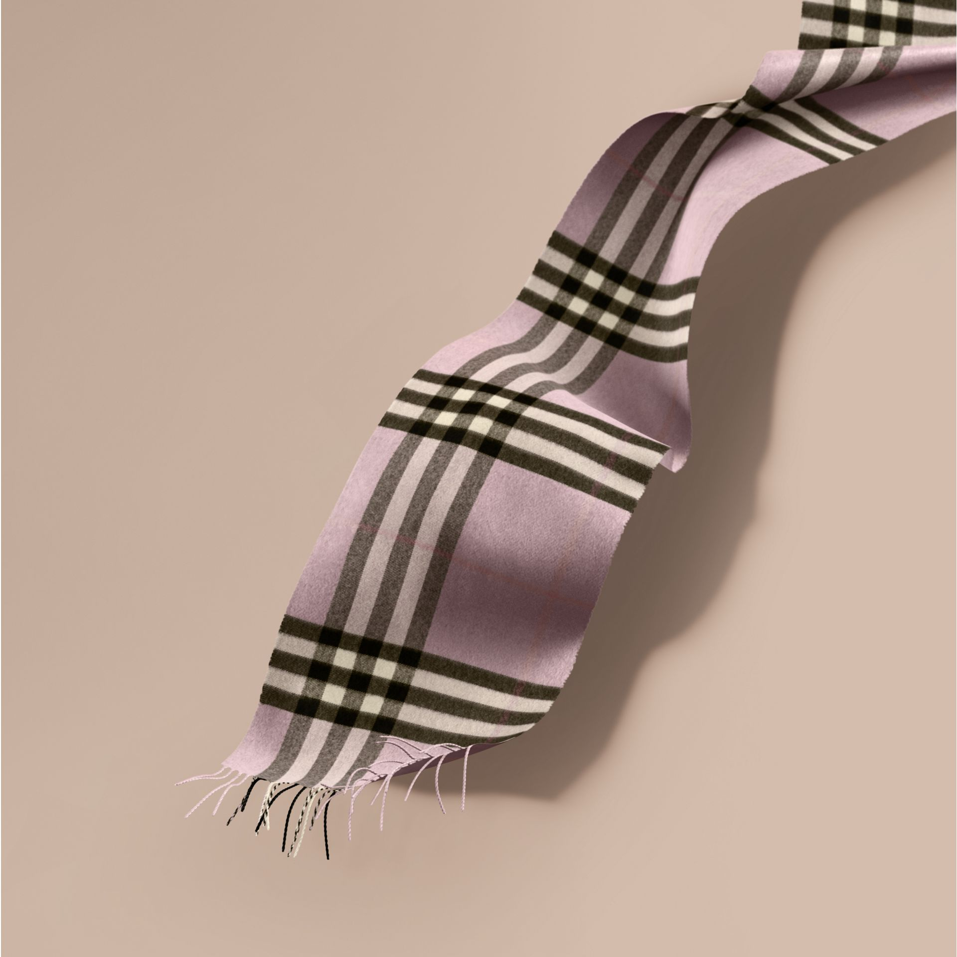 The Classic Cashmere Scarf in Check Dusty Lilac - gallery image 1
