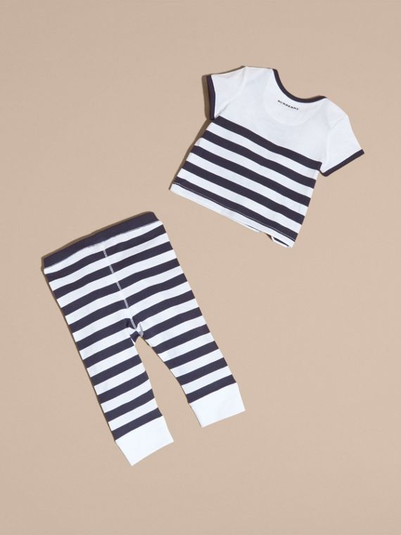 Navy Striped Cotton Two-piece Baby Gift Set with Appliqué Navy - cell image 2