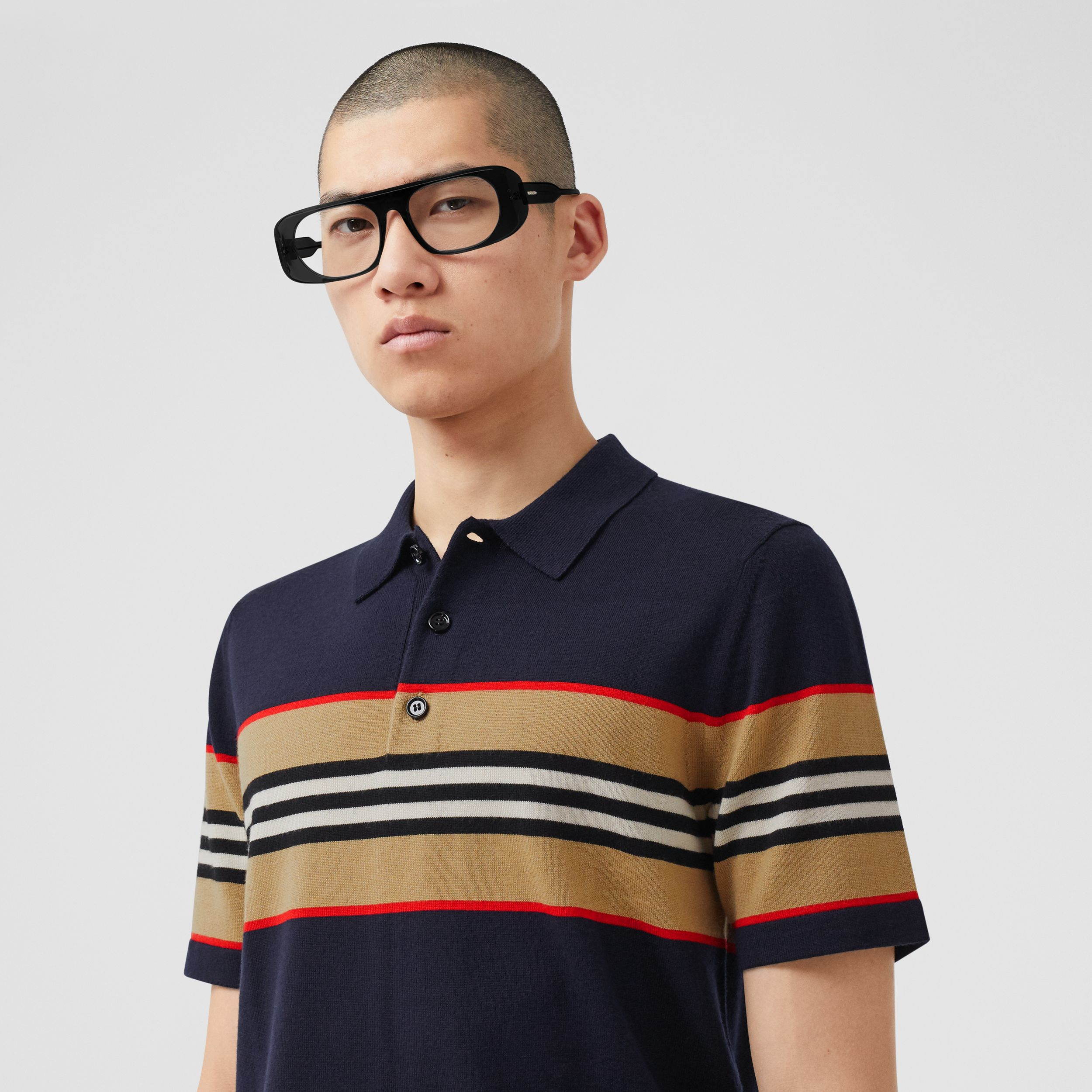 Icon Stripe Detail Merino Wool Polo Shirt in Navy - Men | Burberry - 2