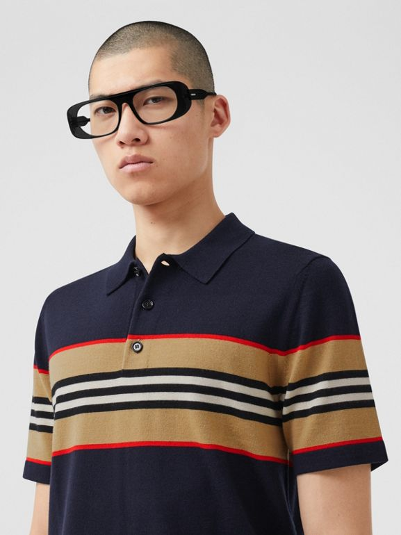 Icon Stripe Detail Merino Wool Polo Shirt in Navy - Men | Burberry - cell image 1