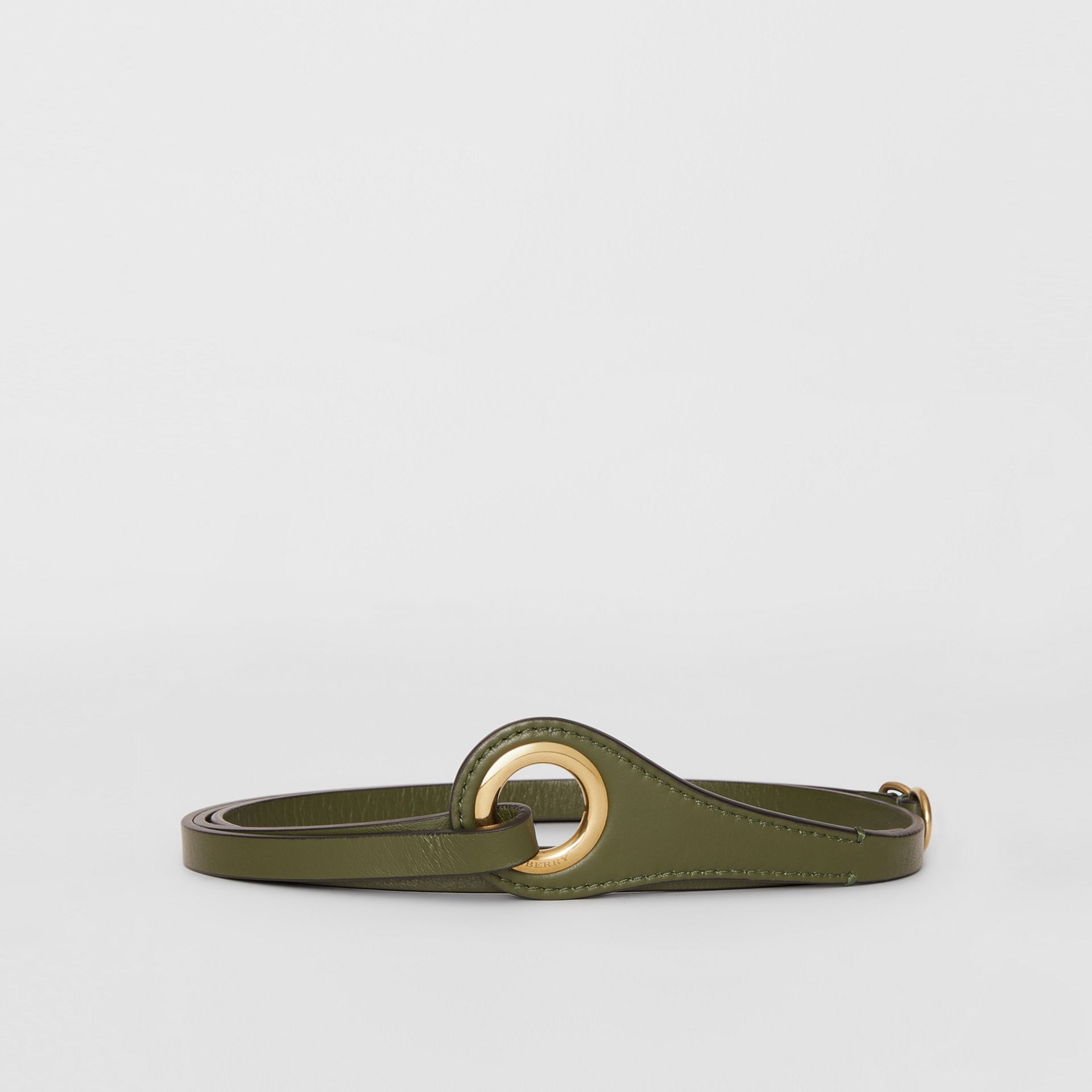Grommet Detail Lambskin Belt in Dark Olive - Women | Burberry Australia - gallery image 3