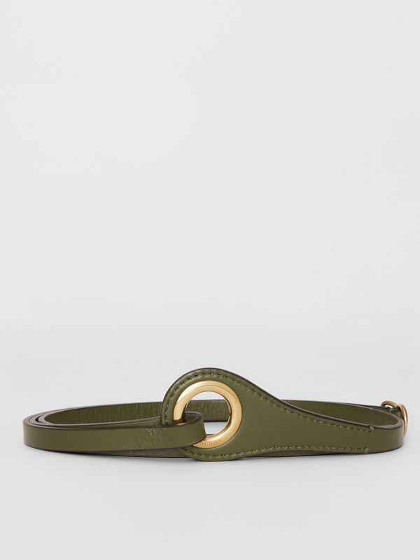 Grommet Detail Lambskin Belt in Dark Olive - Women | Burberry Australia - cell image 3