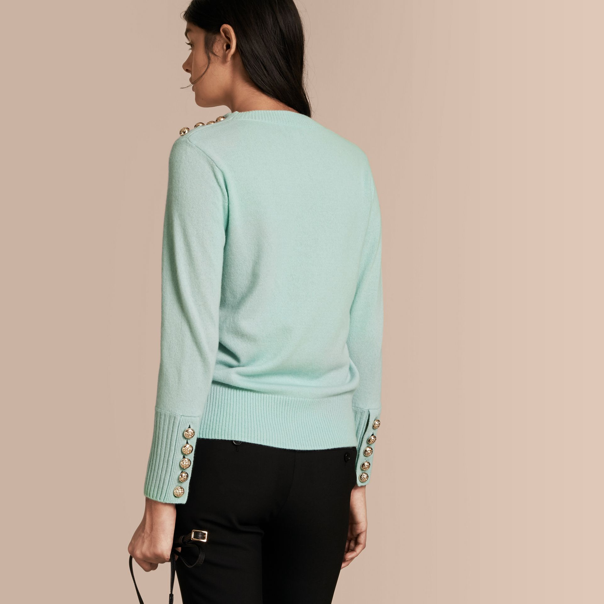 Cashmere Sweater with Crested Buttons in Slate Green - gallery image 3