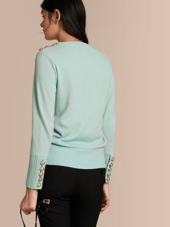 Cashmere Sweater with Crested Buttons in Slate Green - cell image 2
