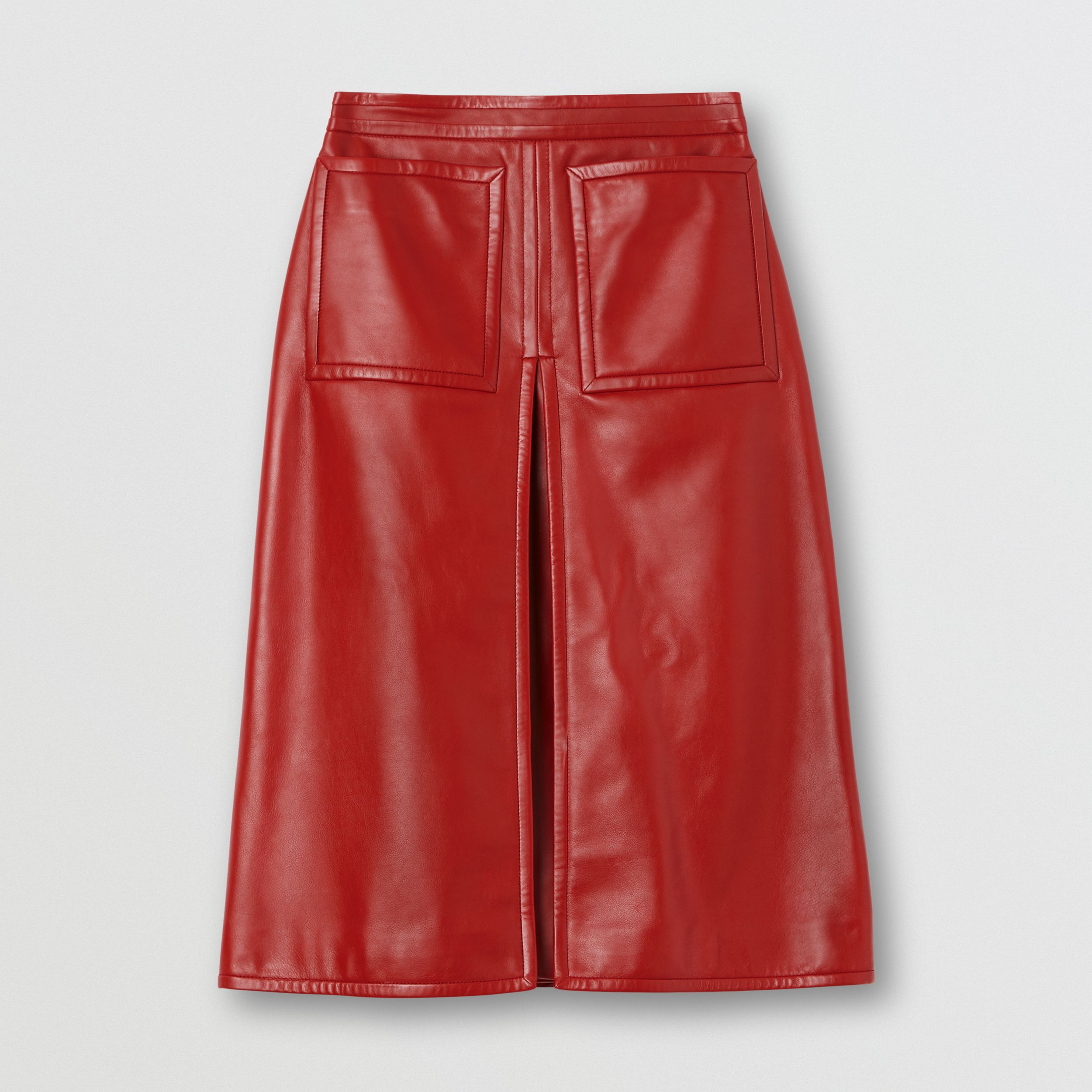 Box-pleat Detail Leather A-line Skirt in Dark Carmine - Women | Burberry - 4