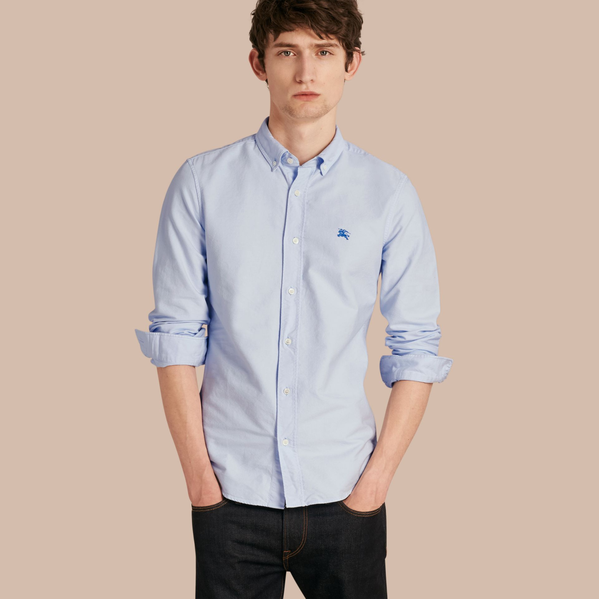 Pale blue Cotton Oxford Shirt Pale Blue - gallery image 1