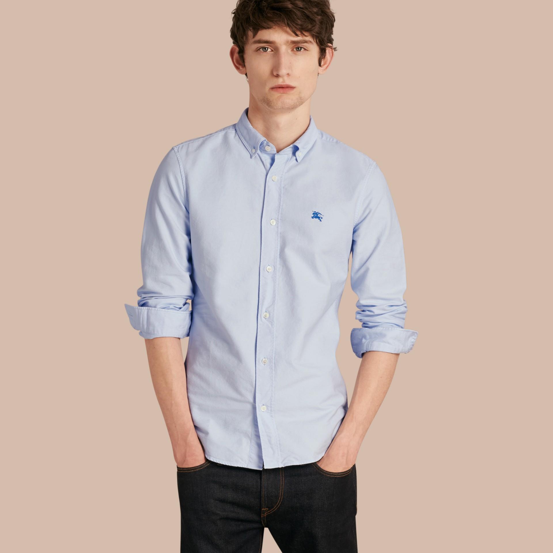 Hellblau Oxford-Hemd aus Baumwolle Hellblau - Galerie-Bild 1