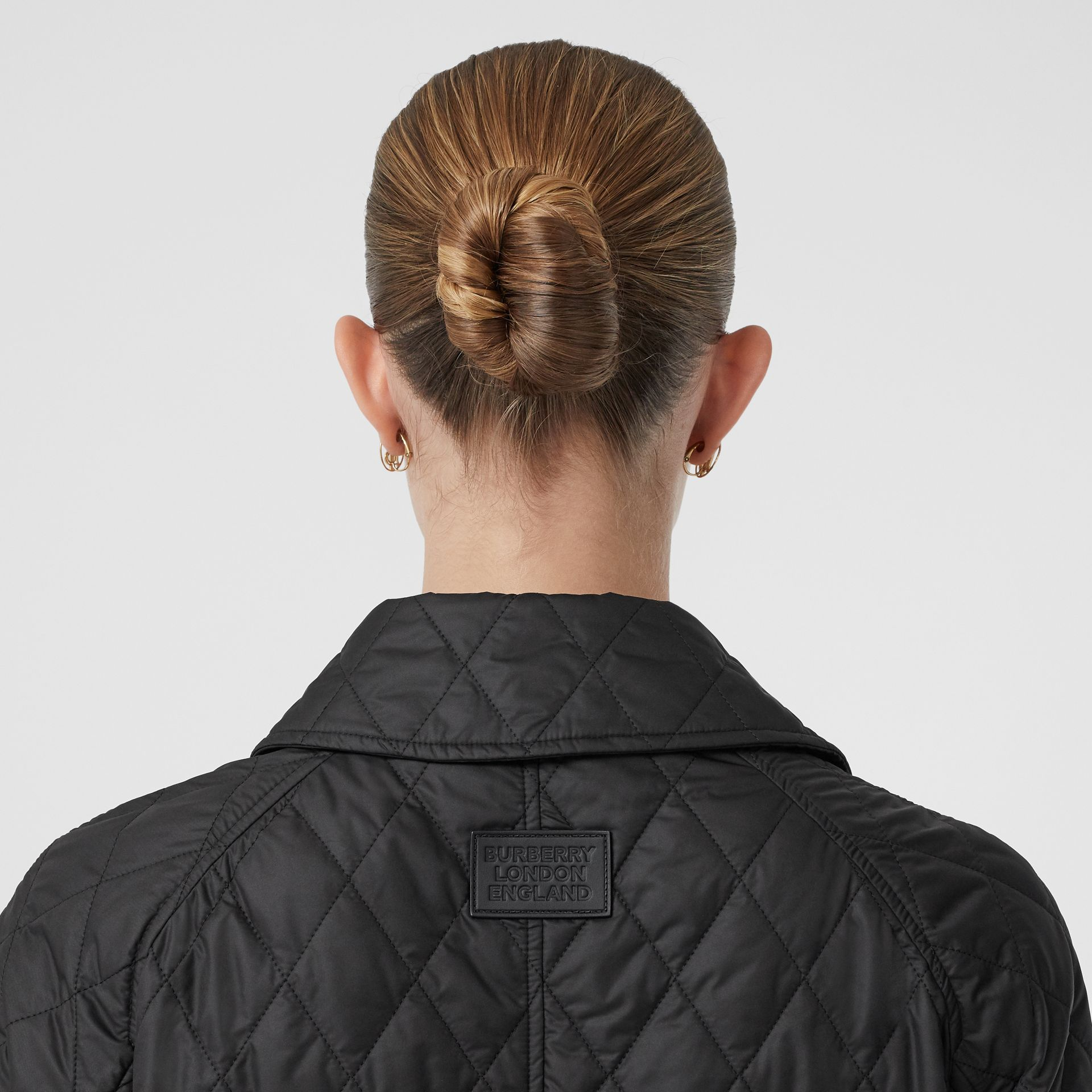 Diamond Quilted Double-breasted Coat in Black - Women | Burberry - gallery image 4