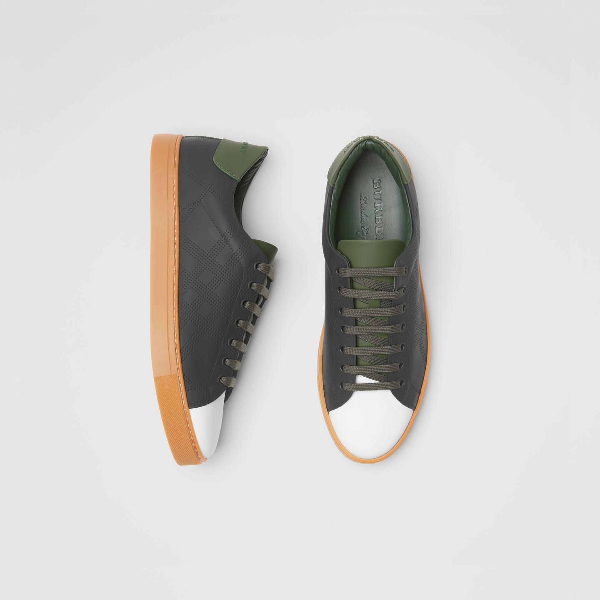 Perforated Check Leather Sneakers in Black/green - Men | Burberry - gallery image 0