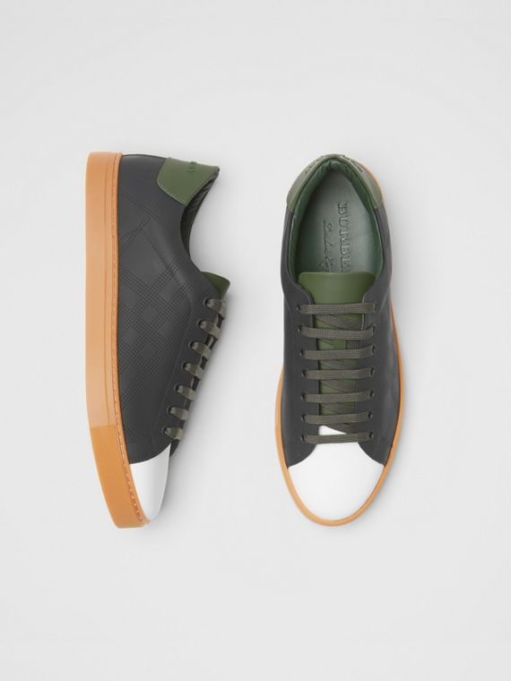 Perforated Check Leather Sneakers in Black/green