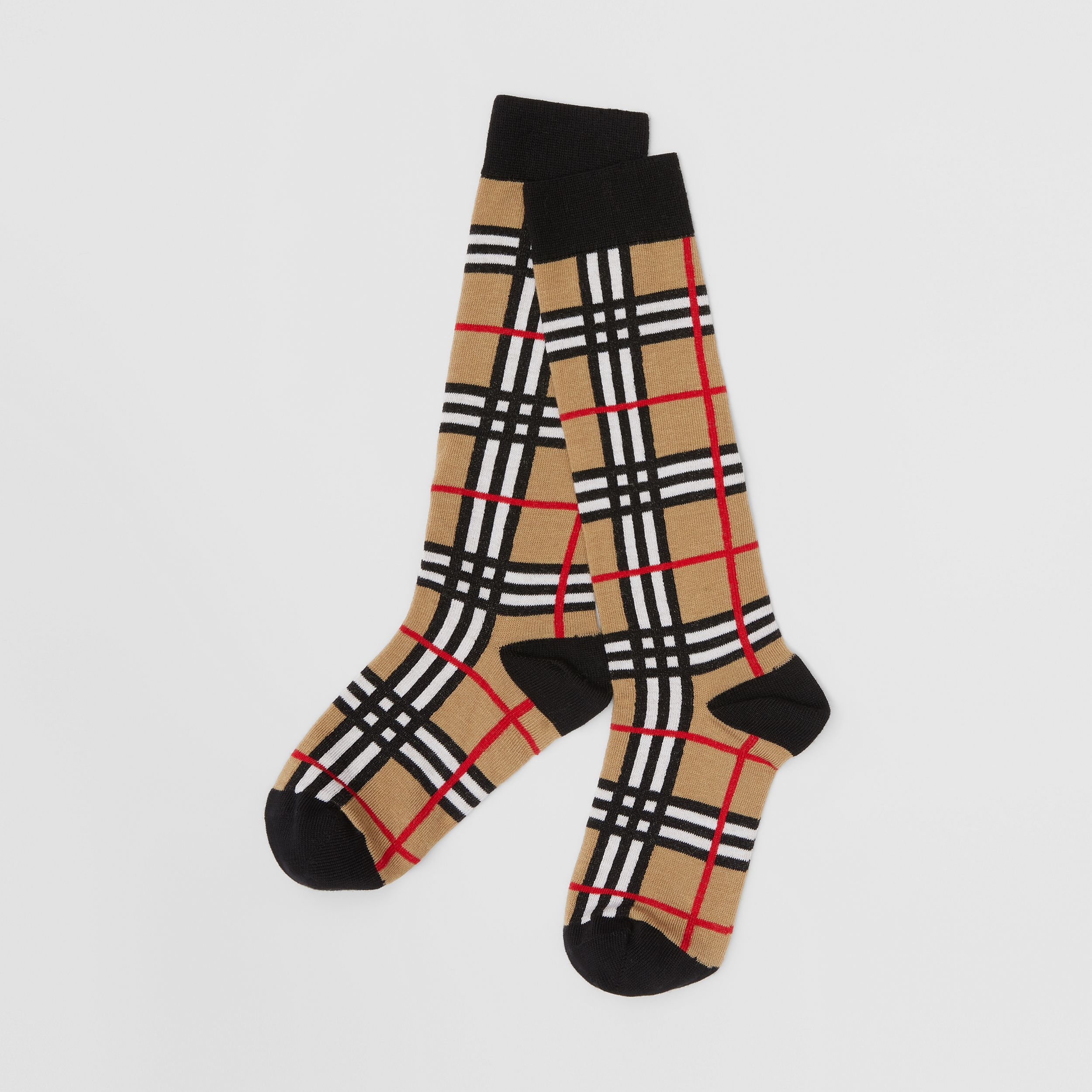 Check Intarsia Cotton Blend Socks in Archive Beige - Children | Burberry - 1