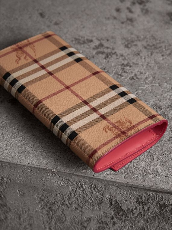 Haymarket Check and Leather Continental Wallet in Plum Pink - Women | Burberry United Kingdom - cell image 2