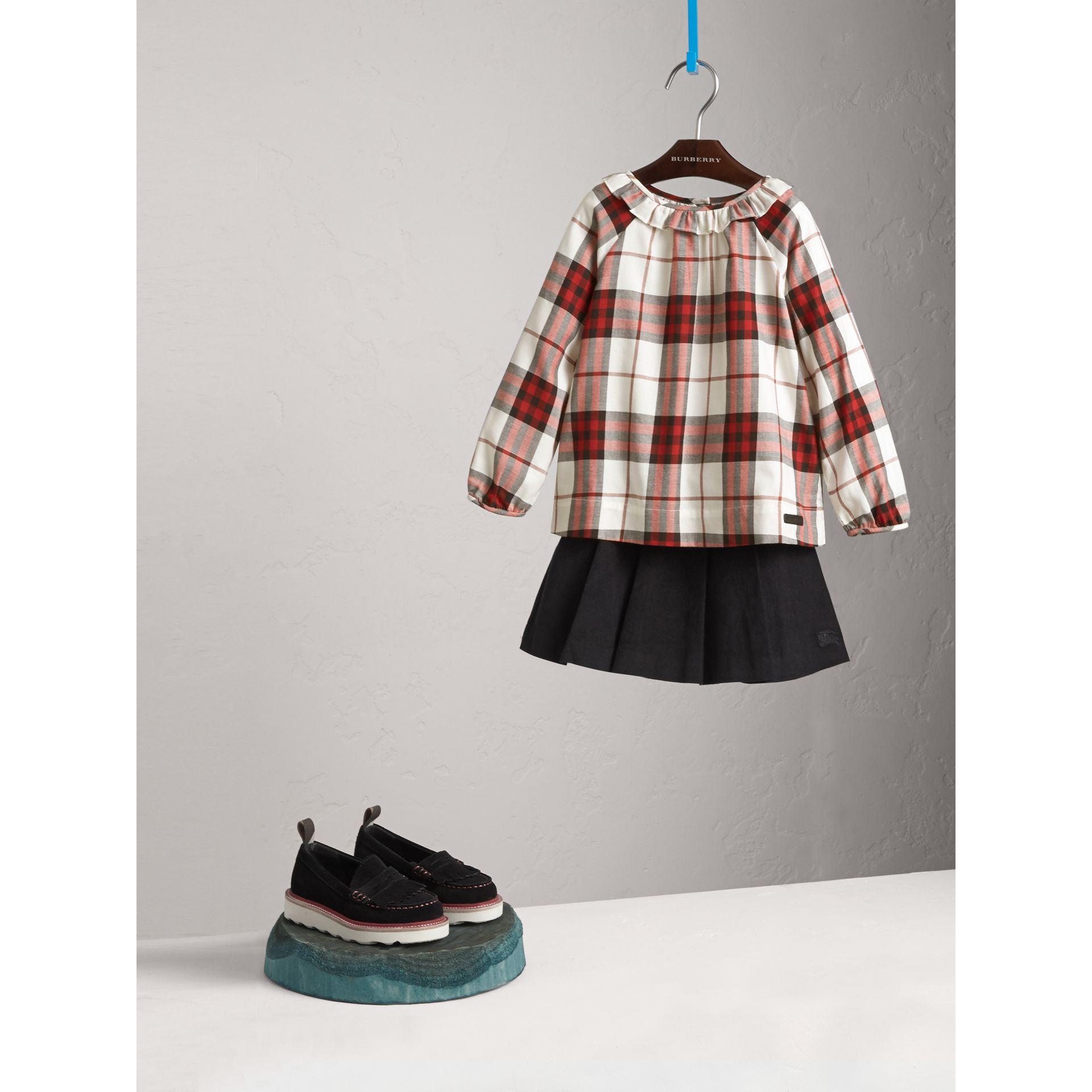 Ruffle Collar Check Cotton Flannel Top in Crimson Red - Girl | Burberry - gallery image 1