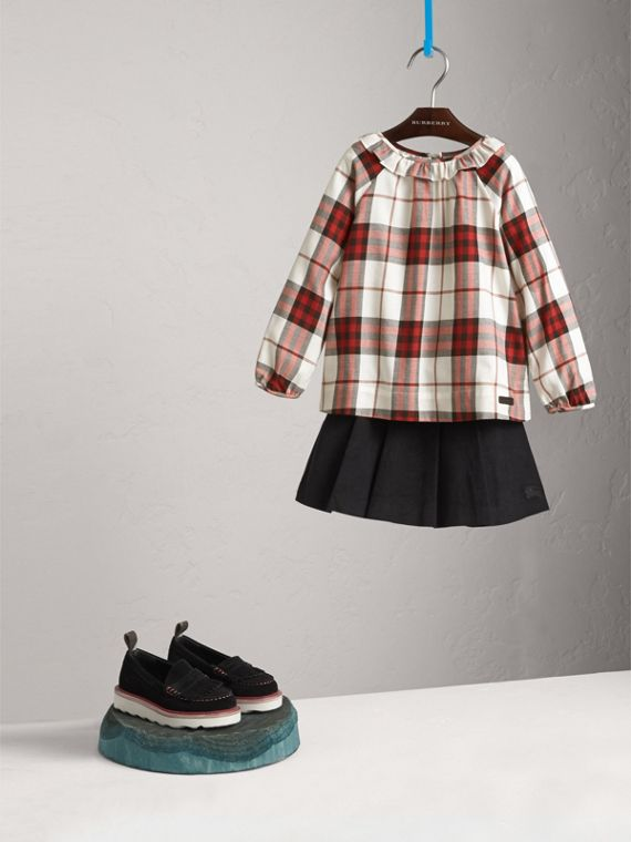Ruffle Collar Check Cotton Flannel Top in Crimson Red